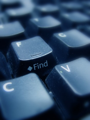 "computer keyboard keys focused on one key that says ""find"""