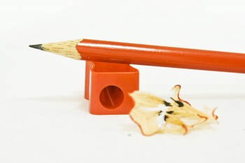 Wooden pencil and sharpener
