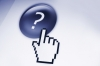 computer icon of hand touching a blue button with a question mark on it