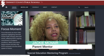 Jackie McNair, Gwinnett County Parent Mentor is shown on video